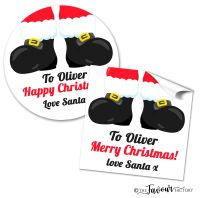 Personalised Christmas Stickers Santas Boots