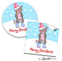 Personalised Christmas Stickers Bear In Boots