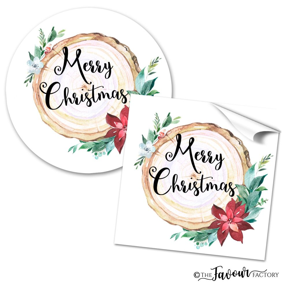 Personalised Christmas Stickers Floral Wooden Piece