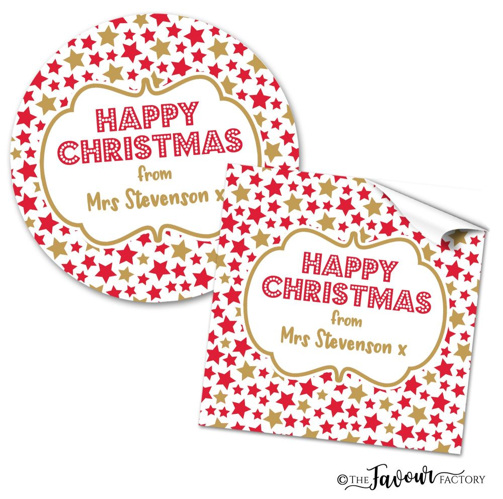 Personalised Christmas Stickers Stars