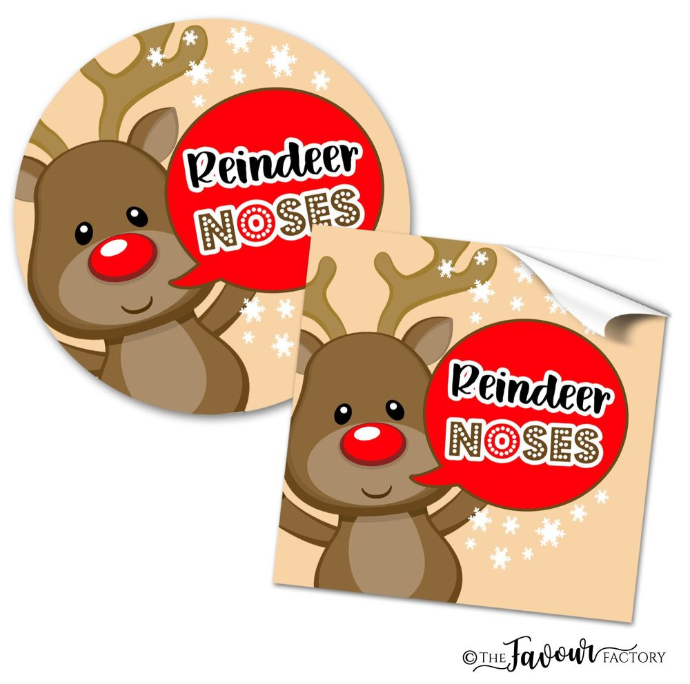 Christmas Stickers Brown Reindeer Noses