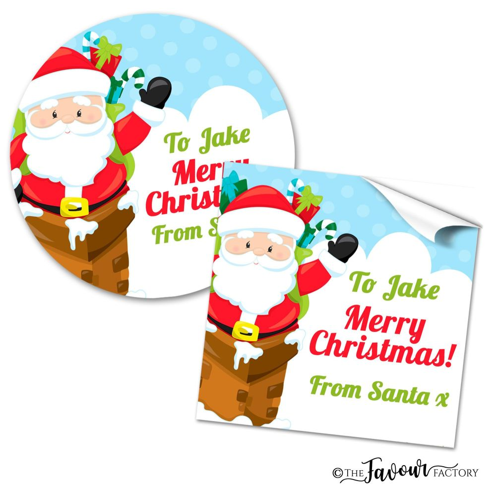 Personalised Christmas Stickers Santa in Chimney