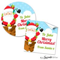 Personalised Christmas Stickers Santa in Chimney