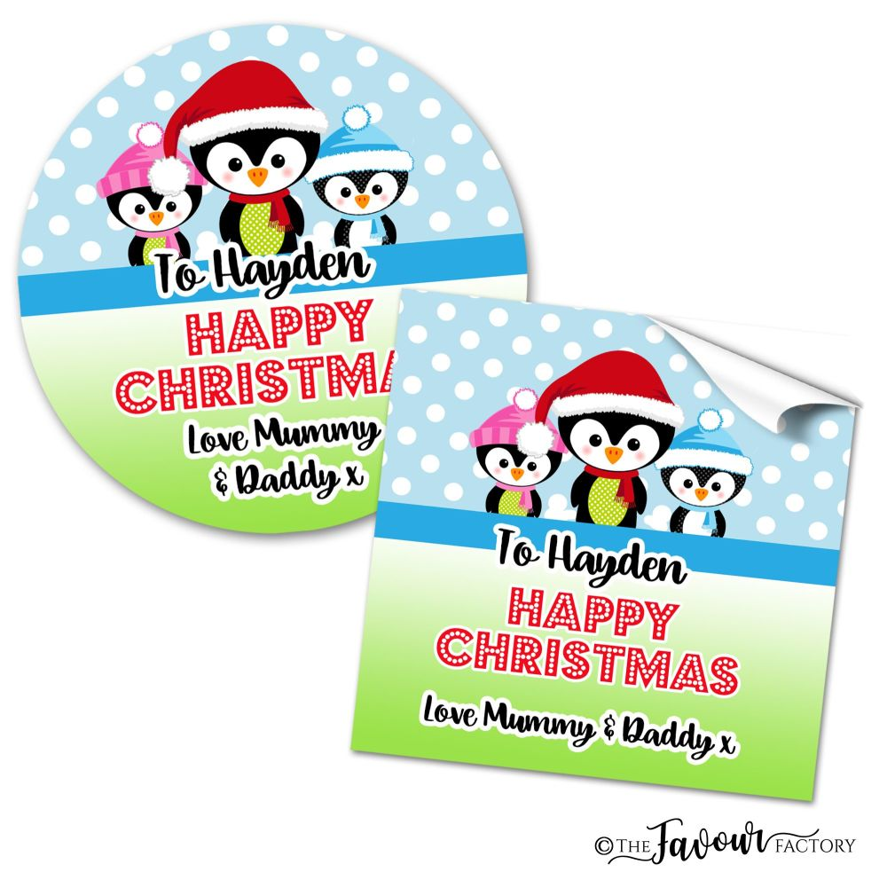 Personalised Christmas Stickers 3 Little Penguins