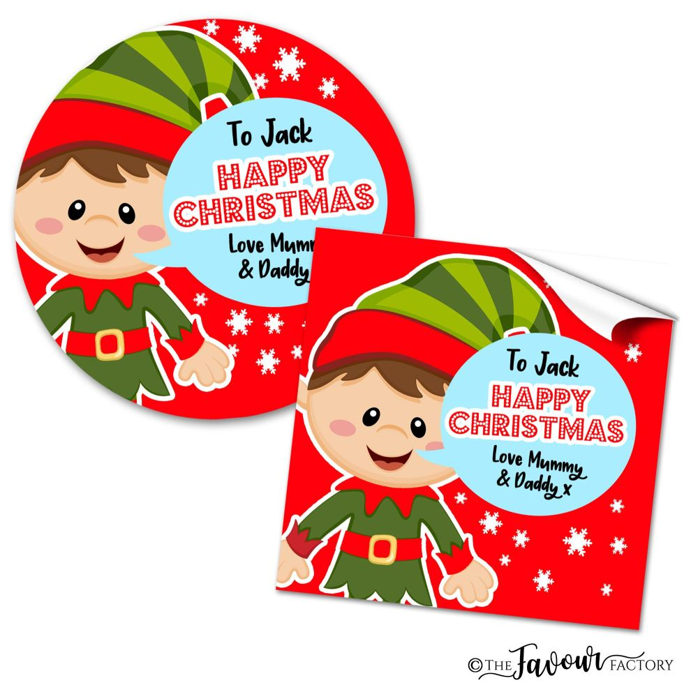 Personalised Christmas Stickers Elf Speech Bubble