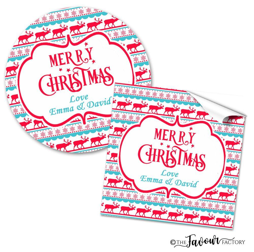 Personalised Christmas Stickers Reindeer Pattern