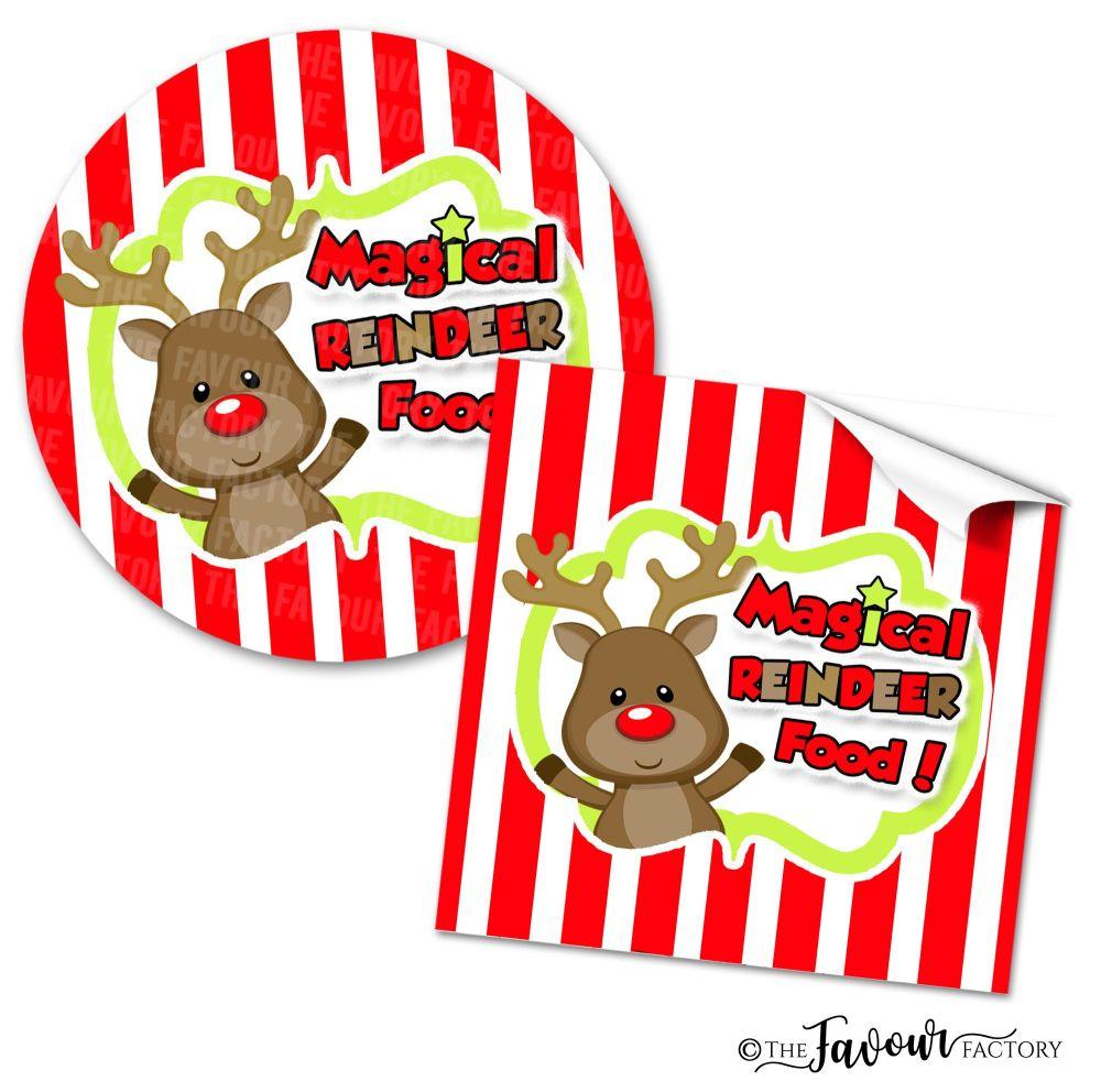 Personalised Christmas Stickers Magical Reindeer Food