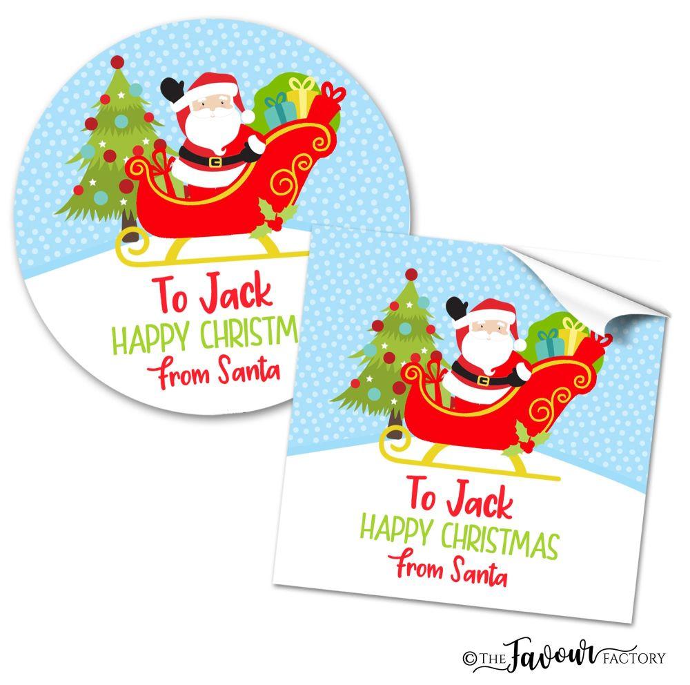 Personalised Christmas Stickers Santa Sleigh