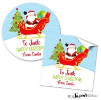 Personalised Christmas Stickers Santa In Sleigh