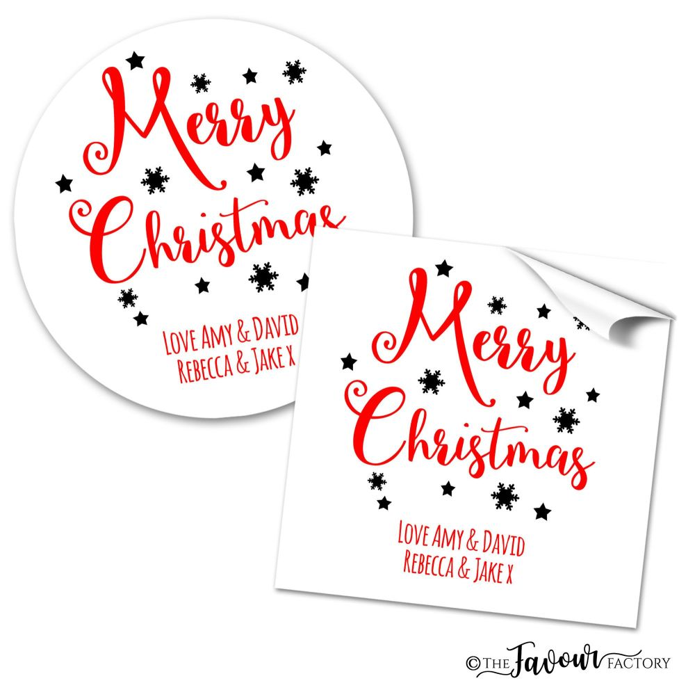 Personalised Christmas Stickers Snowflakes And Stars