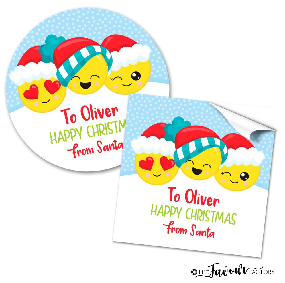 Christmas Stickers Emoji Faces