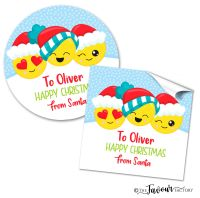 Personalised Christmas Stickers Emoji Faces