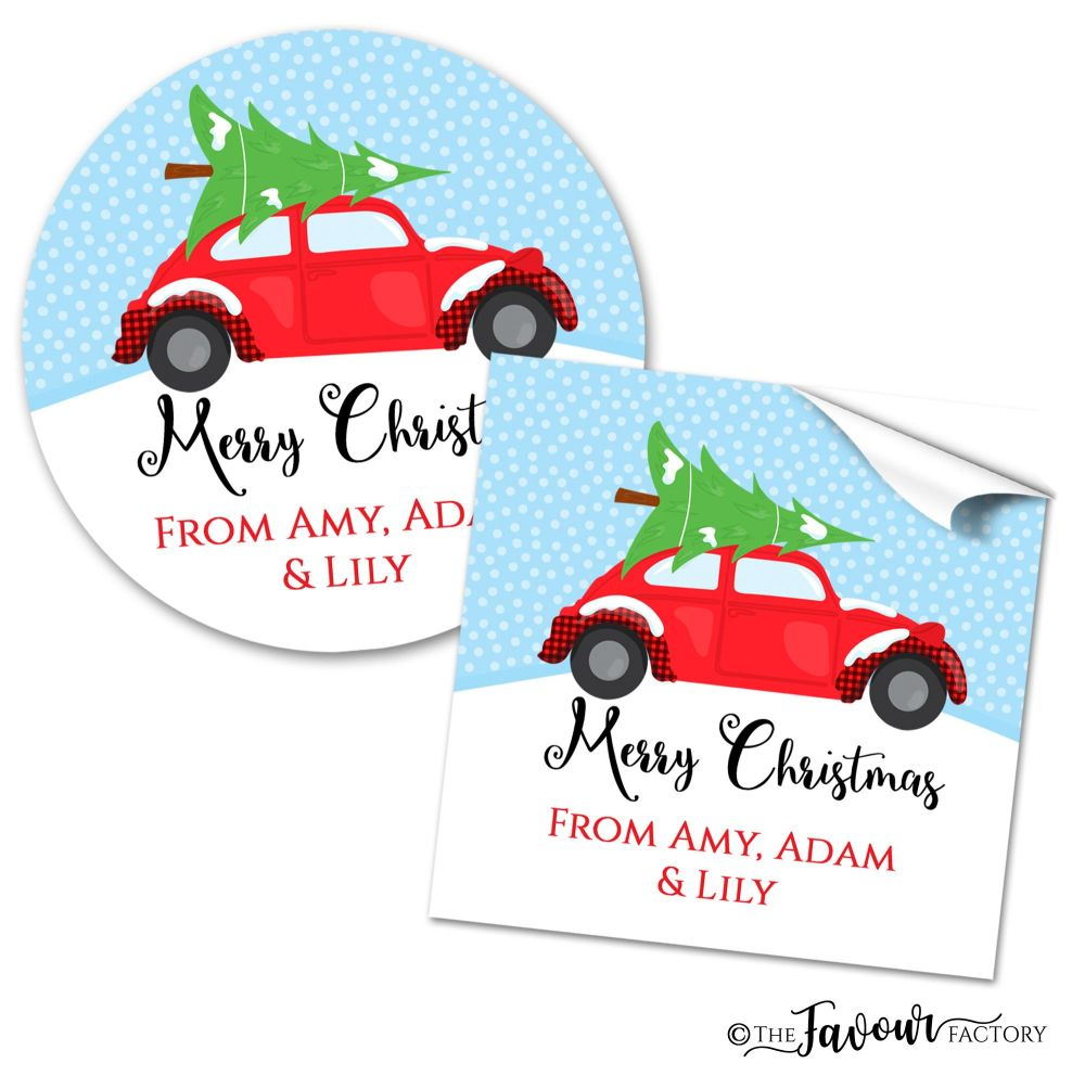 Christmas Stickers Vintage Car Carrying Tree