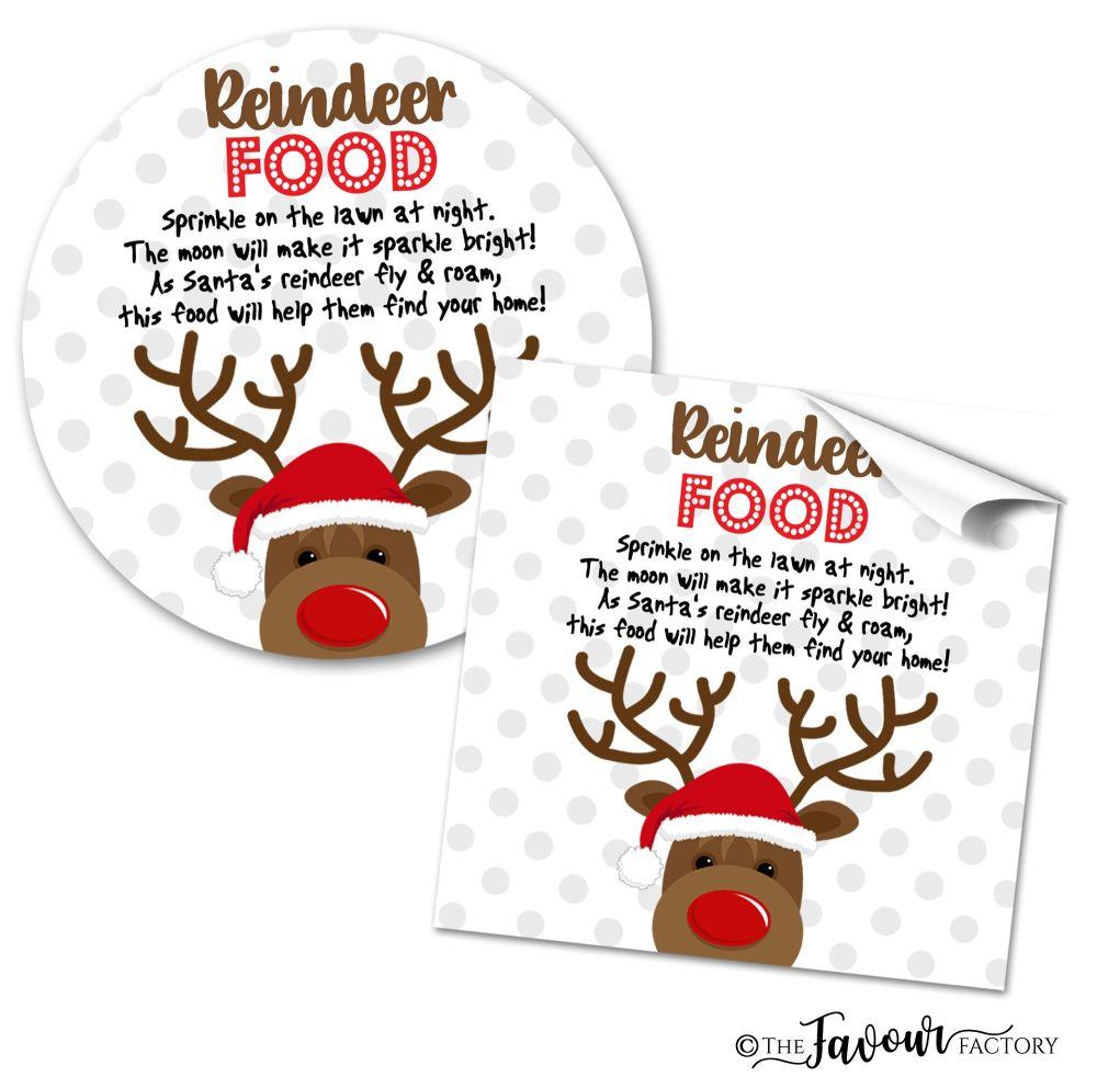 Personalised Christmas Stickers Reindeer Food