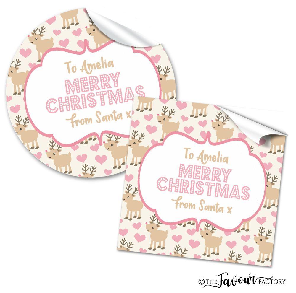 Personalised Christmas Stickers Reindeer Hearts