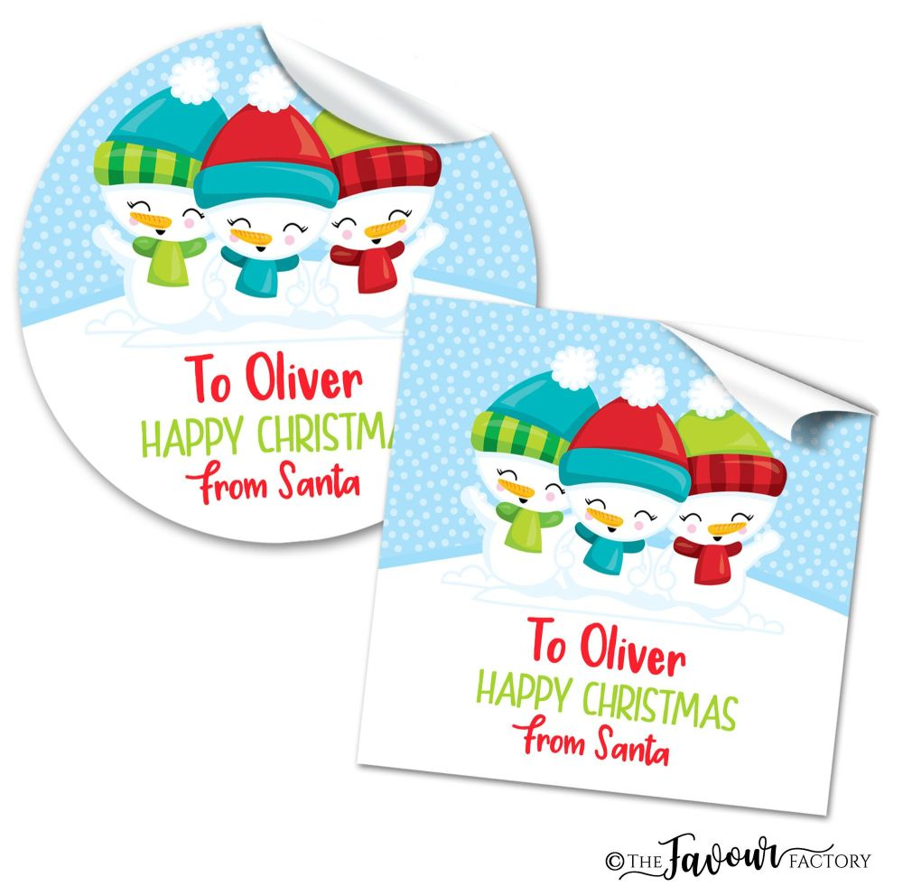 Personalised Christmas Stickers 3 Little Snowmen
