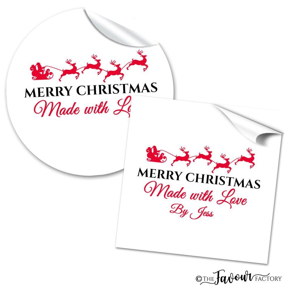 Christmas Stickers Flying Santas Sleigh