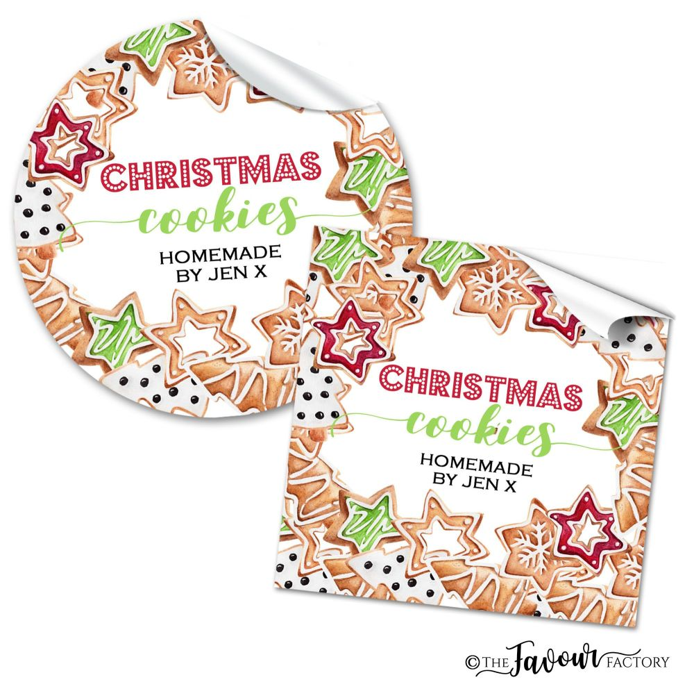 Personalised Christmas Stickers Homemade Cookies
