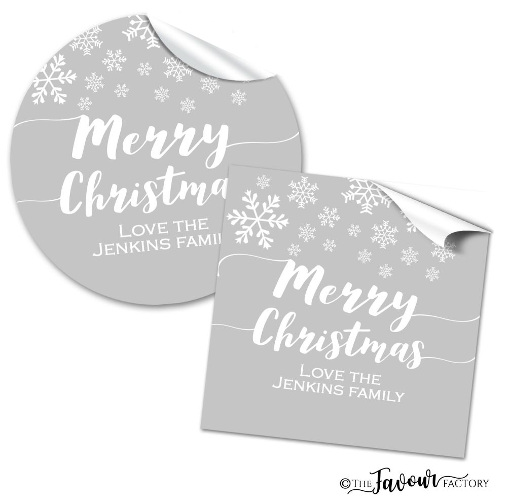 Personalised Christmas Stickers Snowflakes