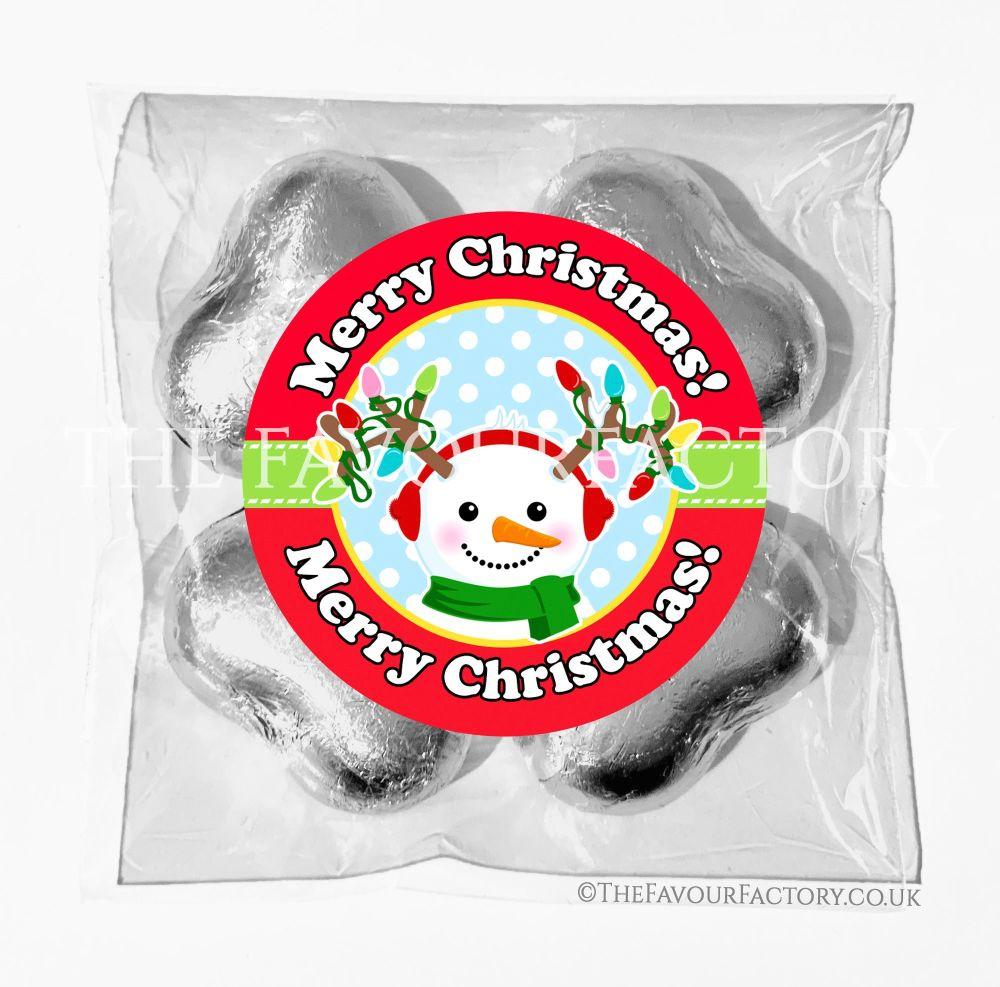 Personalised Christmas Chocolates Bags Snowman Antlers