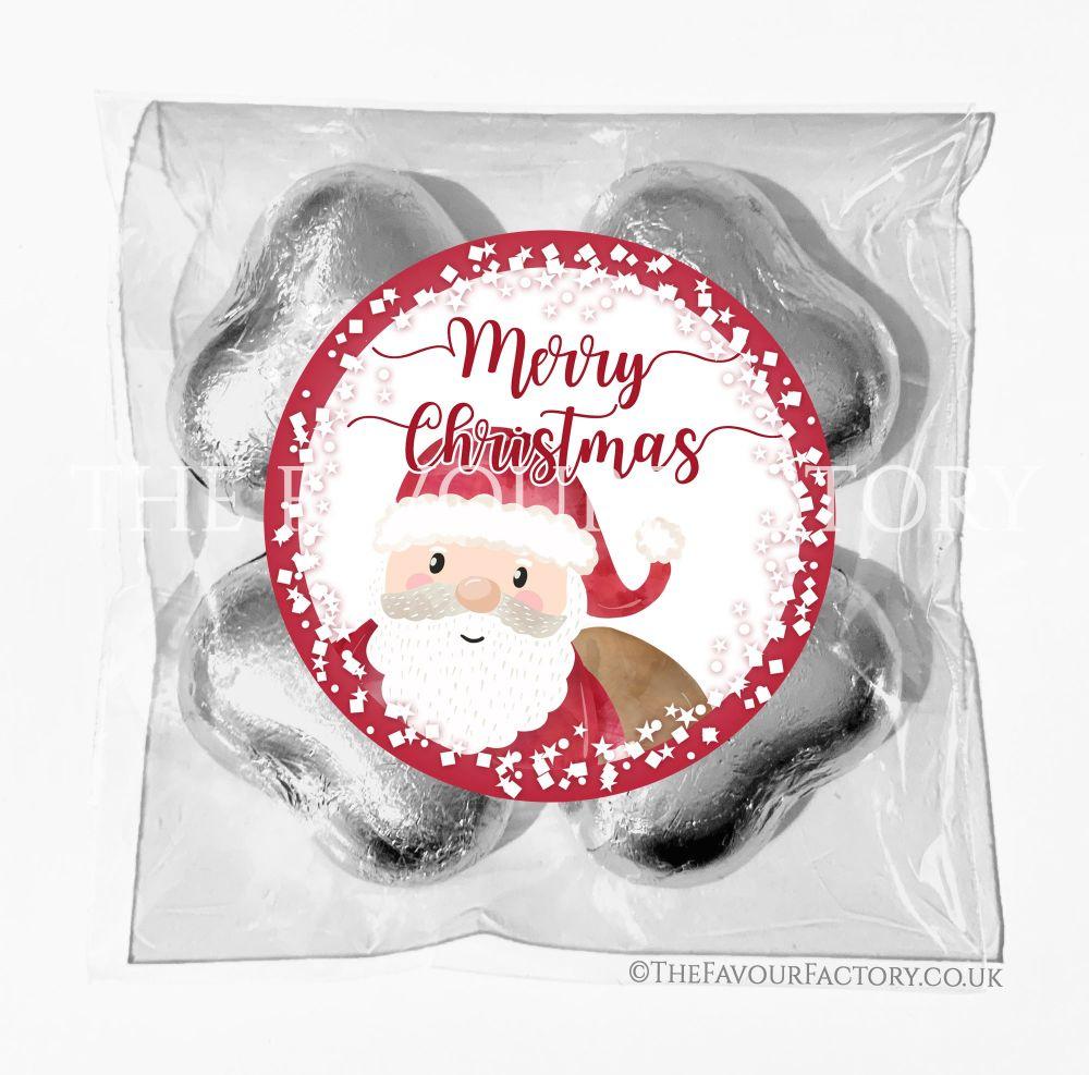 Personalised Christmas Chocolates Bags Santa Confetti