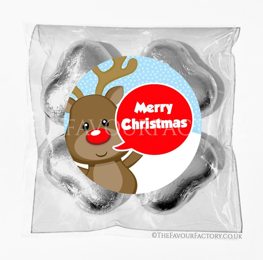 Personalised Christmas Chocolates Bags Reindeer Speech Bubble