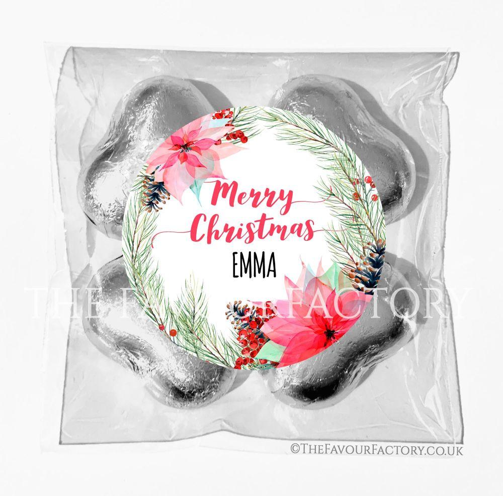 Personalised Christmas Chocolates Bags Poinsettia