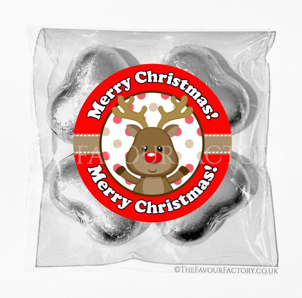 Personalised Christmas Chocolates Bags Reindeer