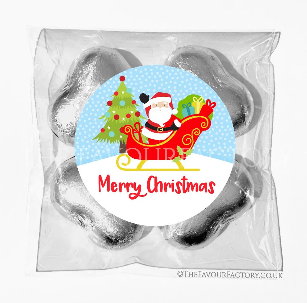 Personalised Christmas Chocolates Bags Santa In Sleigh