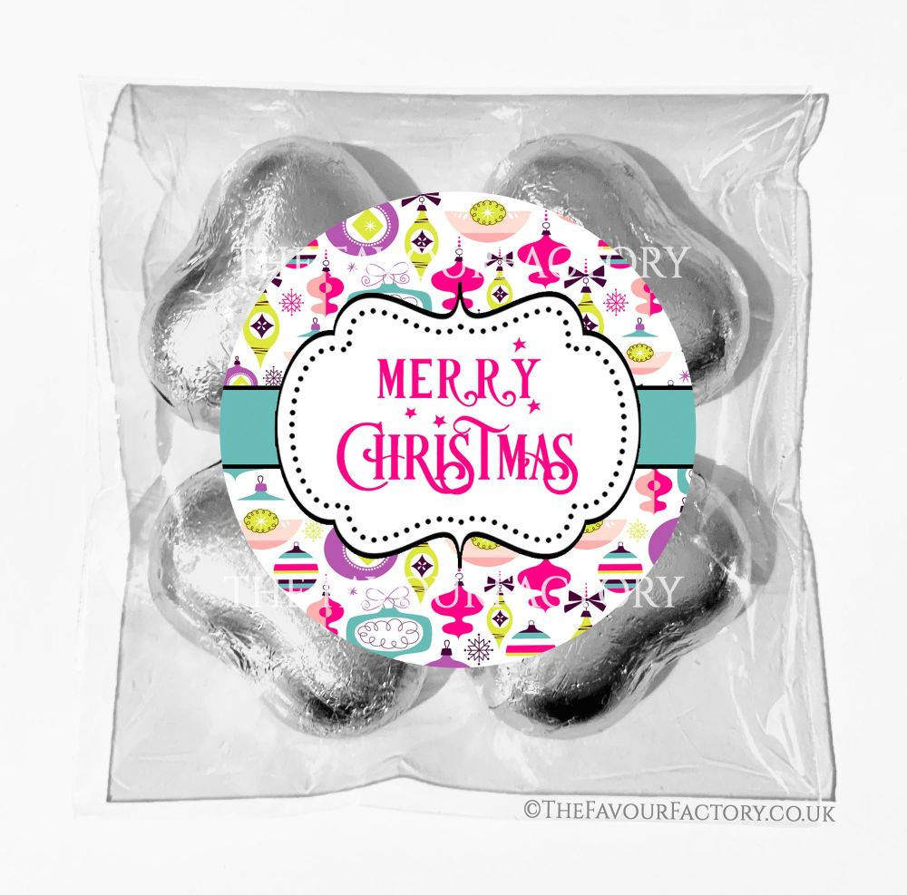 Personalised Christmas Chocolates Bags Retro Baubles