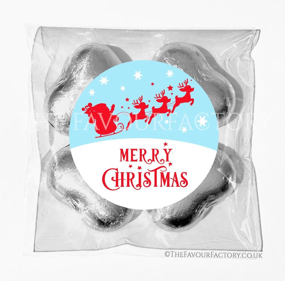 Personalised Christmas Chocolates Bags Sleigh In Sky