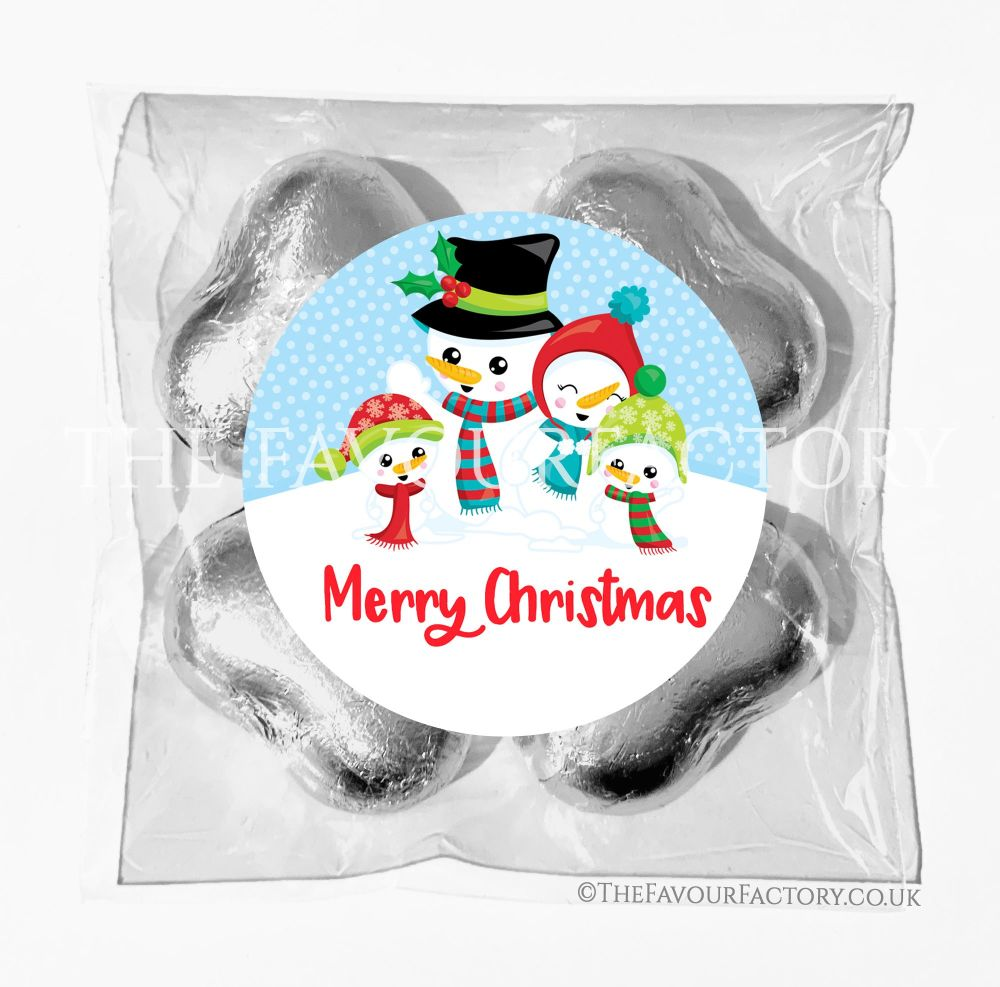 Personalised Christmas Chocolates Bags Snowman Family