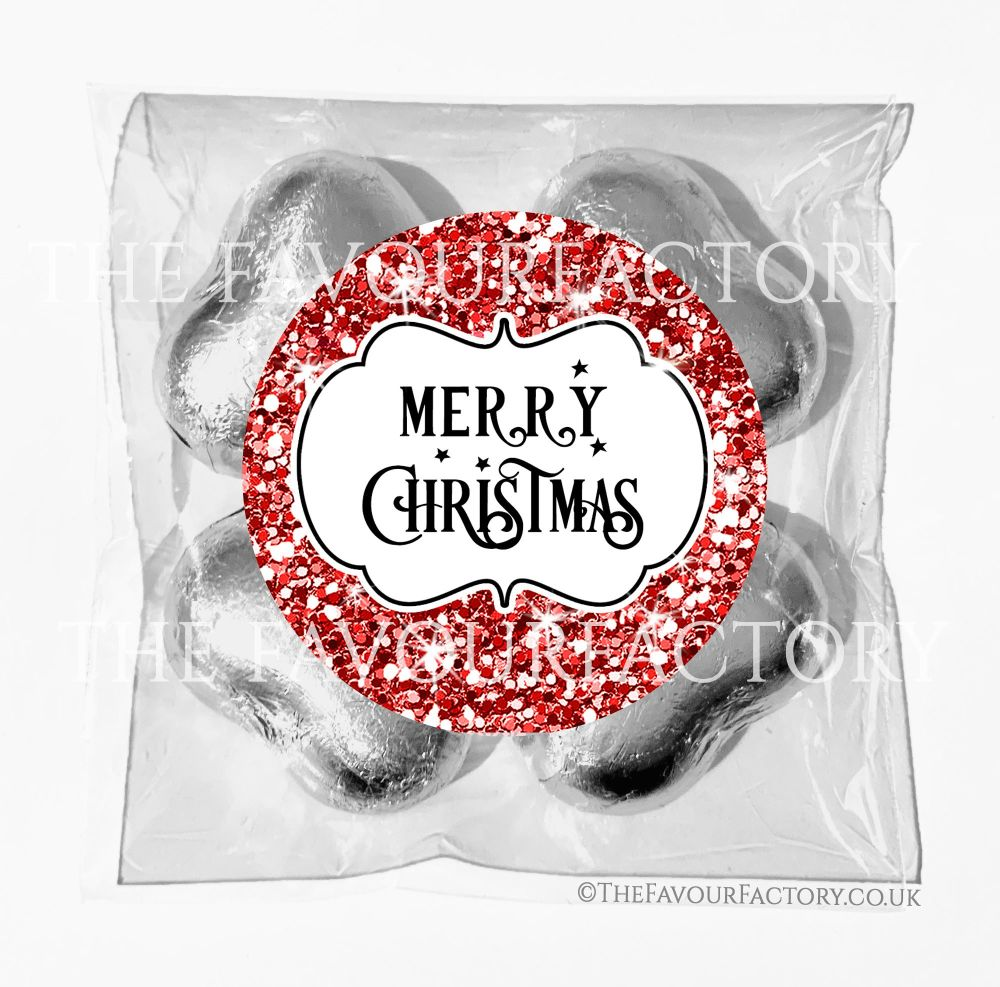 Personalised Christmas Chocolates Bags Red Glitter