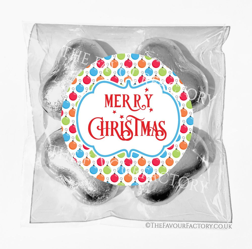 Personalised Christmas Chocolates Bags Bright Baubles