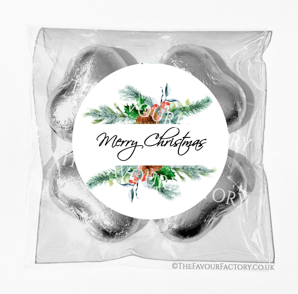 Personalised Christmas Chocolates Bags Pine Berry Winter Bouquet