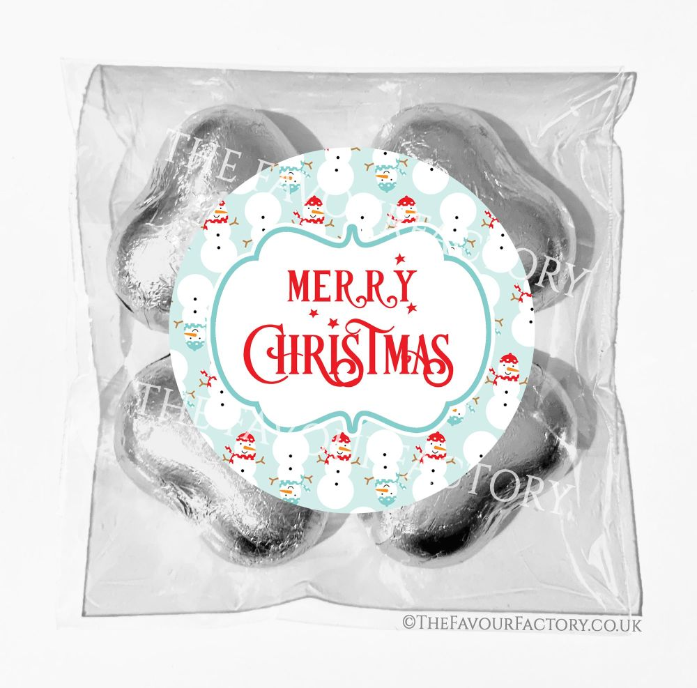 Personalised Christmas Chocolates Bags Cosy Snowmen