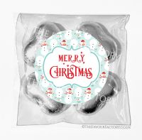 Personalised Christmas Chocolates Bags Cosy Snowmen