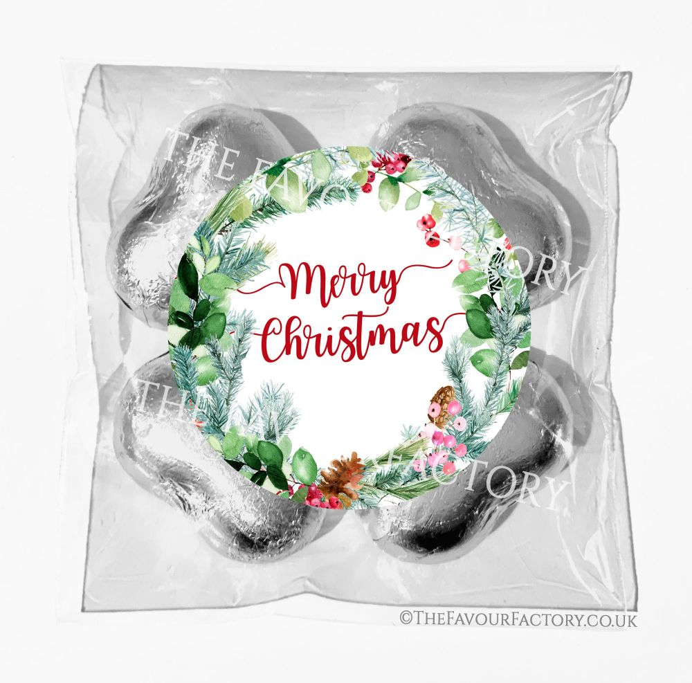 Personalised Christmas Chocolates Bags Pine Berry Winter Wreath