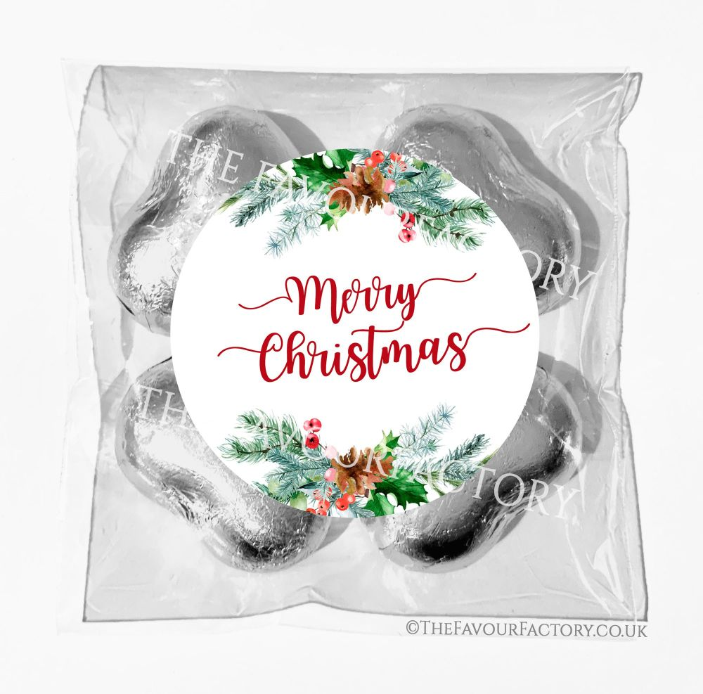 Personalised Christmas Chocolates Bags Pine Berry Festive