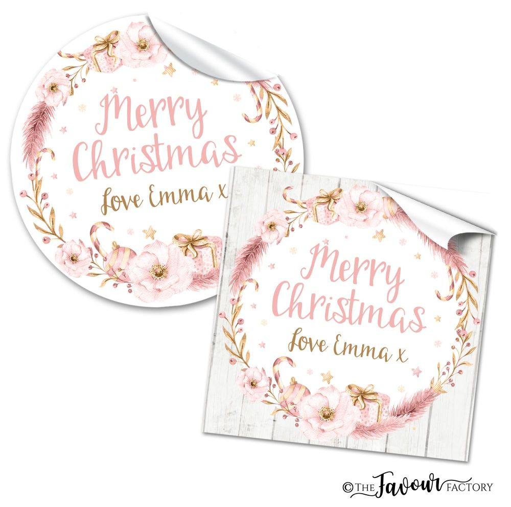 Personalised Christmas Stickers Blush Pink Floral Wreath
