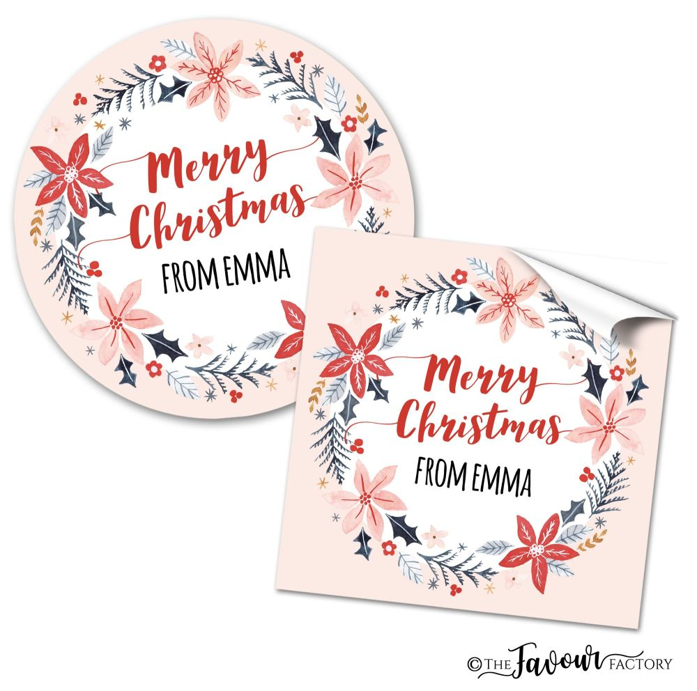 Personalised Christmas Stickers Scandi Winter Holly Wreath