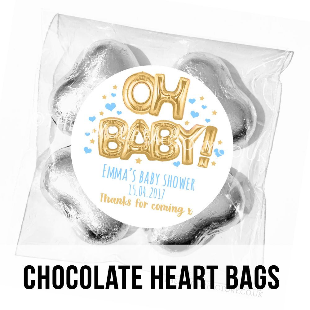 Personalised Baby Shower Chocolate Heart Bags