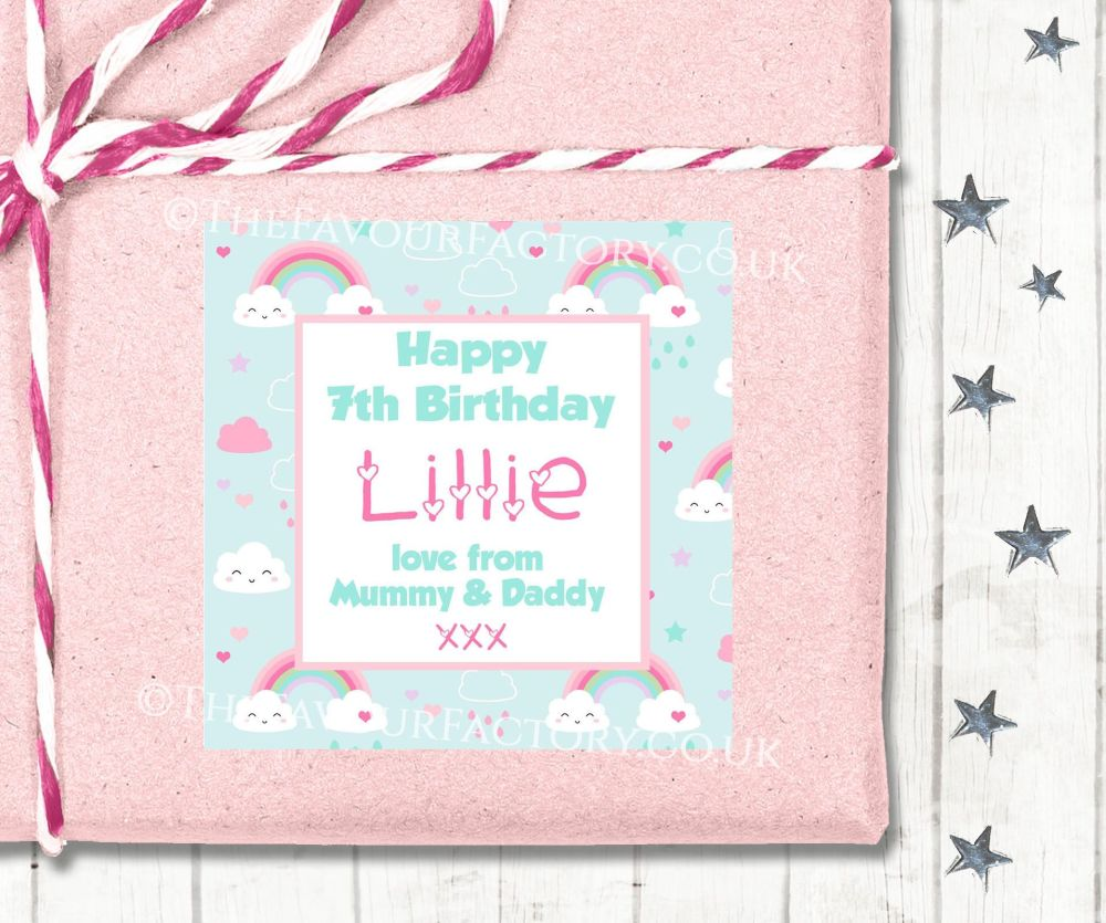 Personalised Birthday Gift Tags Labels Rainbows And Clouds