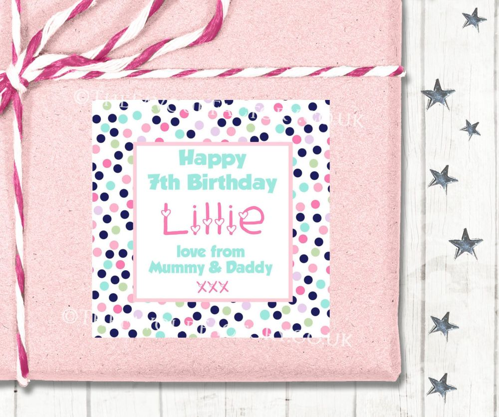 Personalised Birthday Gift Tags Labels Confetti Polka Dots