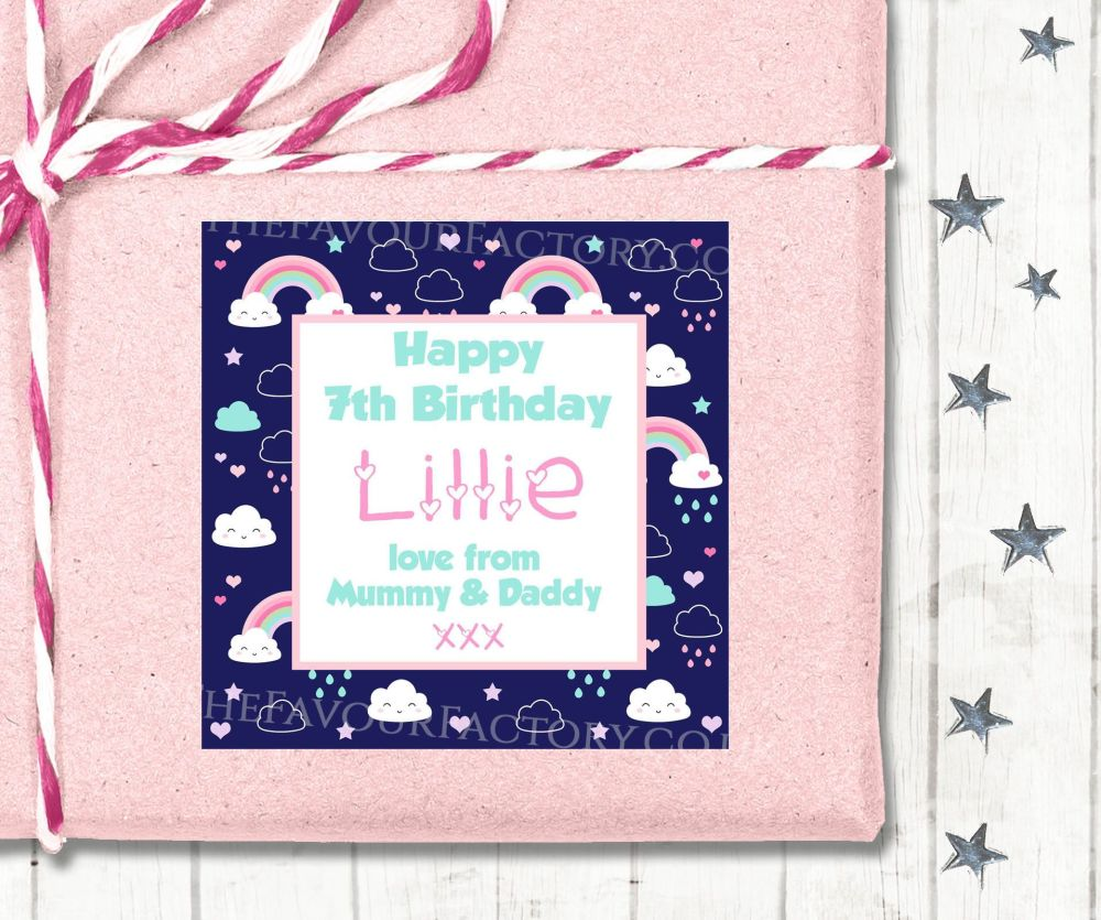 Personalised Birthday Gift Tags Labels Rainbows And Clouds Navy