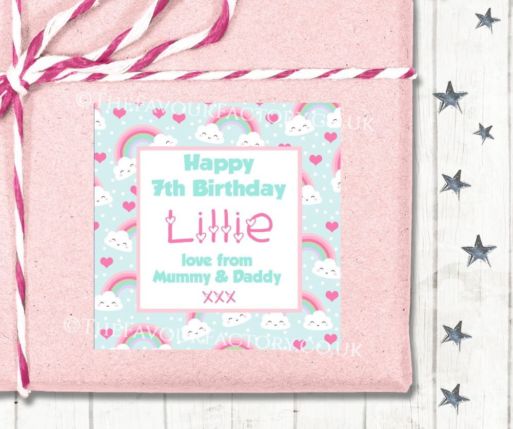 Personalised Birthday Gift Tags Labels Rainbows And Clouds Polka Dots