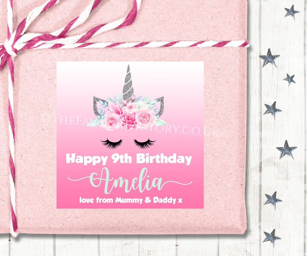 Personalised Birthday Gift Tags Labels Floral Silver Glitter Unicorn