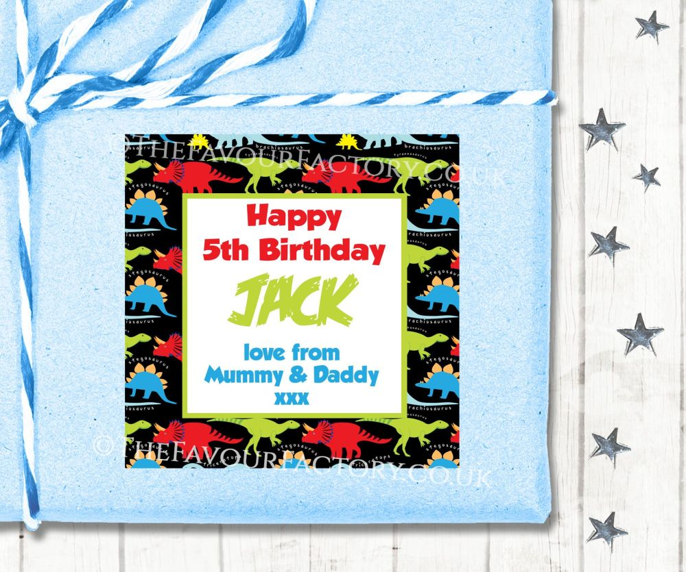 Personalised Birthday Gift Tags Labels Bright Dinosaurs