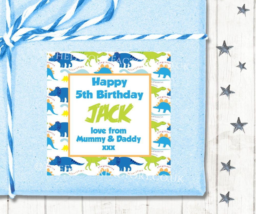 Personalised Birthday Gift Tags Labels Dinosaurs