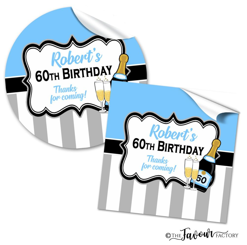 Personalised Birthday Stickers Champagne Stripes Sky Blue